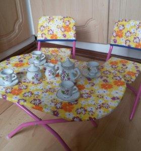 Мебель для кукол с посудой