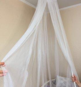 Балдахин на детскую кроватку+тюль