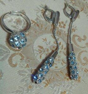 Серьги и кольцо, бижутерия