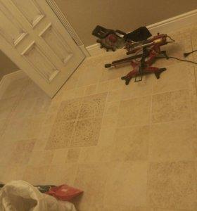 Укладка плитки кафеля на пол, стены ремонт ванных.