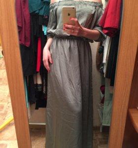 Шёлковое платье в пол новое чёрное и серо-зеленое