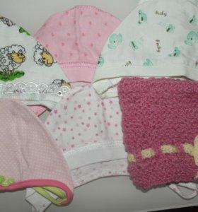 Чепчики, шапочки для девочки 0-2 месяца