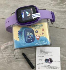 Влагостойкие Детские умные часы GW400s сиреневые