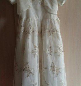 Платье молочное с накидкой