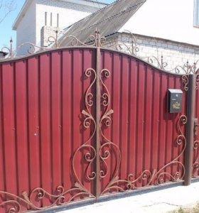 Ворота закрытые профлист.