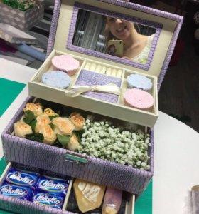 Цветы в коробке Косметичка Мыло