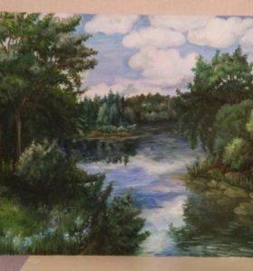 Картина маслом,пейзаж
