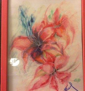 Картина,масляная пастель,рама