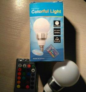 Rgb лампочка e14 многоцветная с пультом.