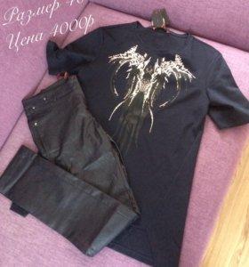Комплект кожаные штаны+футболка