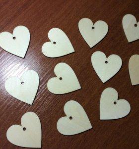 Сердечки деревянные.