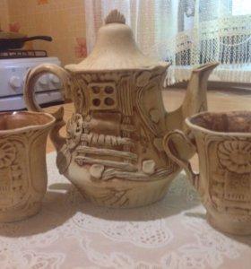 Кофейный набор из глины , ручная работа