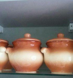 Набор из шести керамических горшочков