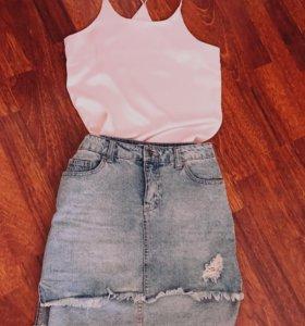 Продам топ (ткань атлас ) и джинсовую юбку