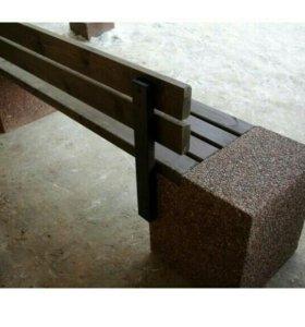 Скамейка бетонная со спинкой