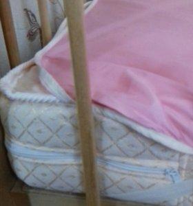 Детская кроватка 2 уровня положения. Новая