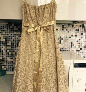 Золотистое платье-комбинация