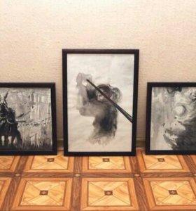 Картины акварель триптих