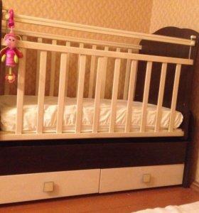 Детская кроватка маятник трансформер новая
