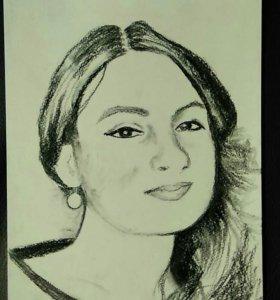 Портрет по фото угольным карандашом.