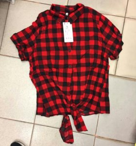 Новая женская рубашка в клетку красная черная бант