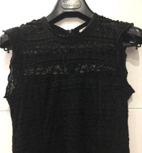 Платье XS чёрное кружевное