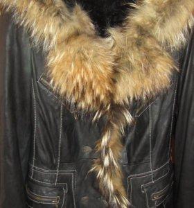 Кожаная куртка, тёплая