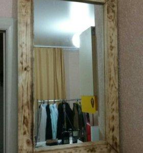 Зеркало в деревянной раме (лофт)