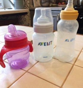 Бутылочки 4 шт Avent и поильник