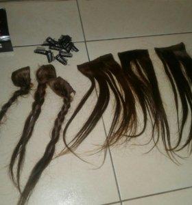 Натуральные волосы на заколках 35 см