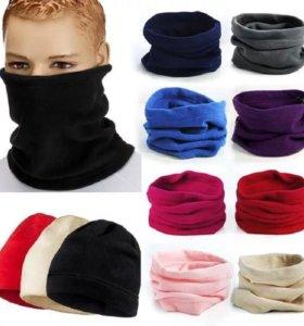 Флисовый снуд, маска, шарф, шапка