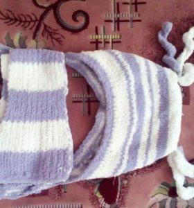 Шапка и шарф для девочки 9-12 мес