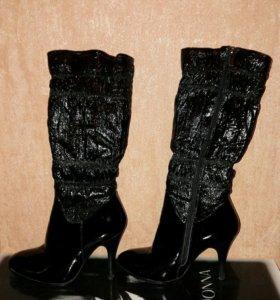 Натуральные зимние лакированные ботинки