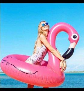 """Новый надувной круг """"фламинго"""" розовый 120см"""