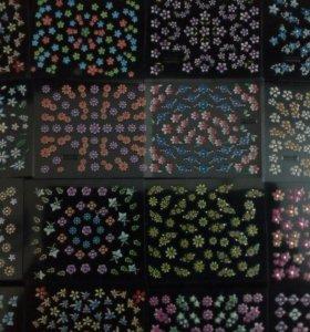 Наклейки для дизайна ногтей - цветы