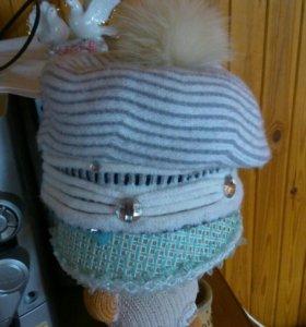 Зимняя шапка+шарф