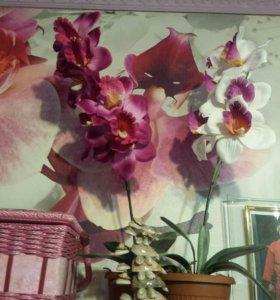 Орхидеи и мальва искусственные