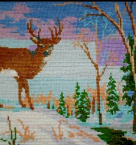 """Картина вышитая крестиком """"Северный олень"""""""