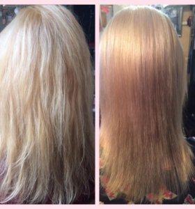 Кератиновое выпрямление волос, ботокс волос.