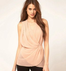 Блузка-туника пудрового цвета