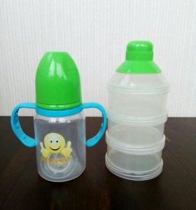 Набор детской посуды: бутылочка и контейнер