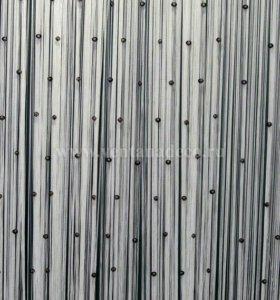 Нитяная штора белая с камнями черными