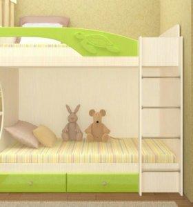 Новая Двухъярусная Кровать МДФ Бемби Салатовый