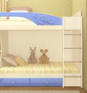 Новая Двухъярусная Кровать Бемби МДФ Голубой