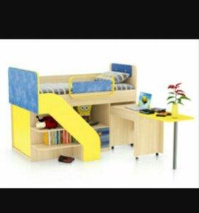 Кровать со встроенным столом Джинс