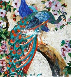 Мозаичное панно(павлины),мозаика