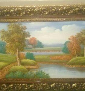 Картина с камнями янтаря.