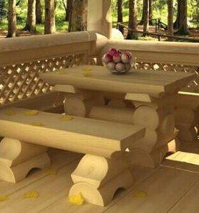 Беседки, столы, лавки из оцилиндрованного бревна