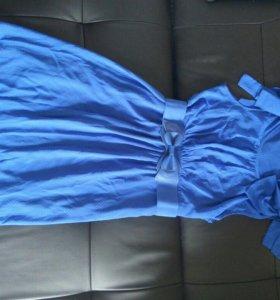 платье,легкое,воздушное,синие в мелкий горошек