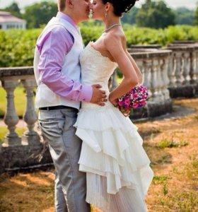 Очаровательное короткое свадебное платье
